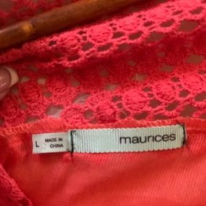 Maurices Tops - 🧡 Maurice's, Size Large, Coral Sheer Blouse 🧡